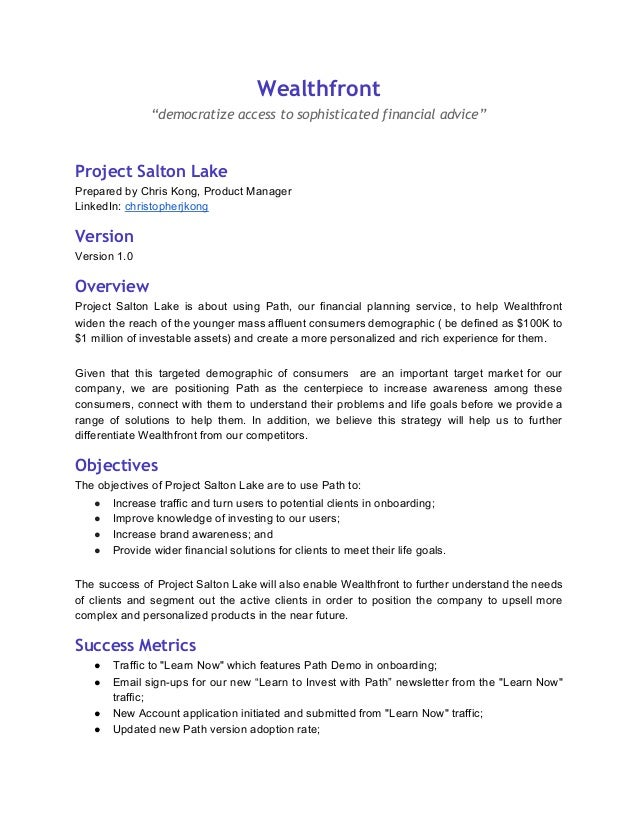 sample product requirements document prd