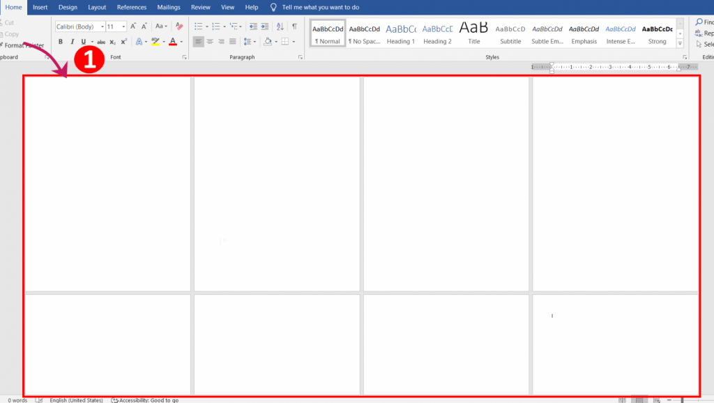 what is the size of a word document page