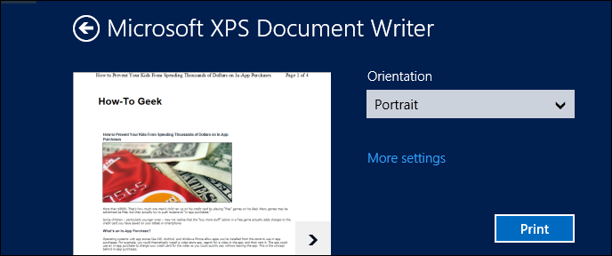 microsoft xps document writer what is it